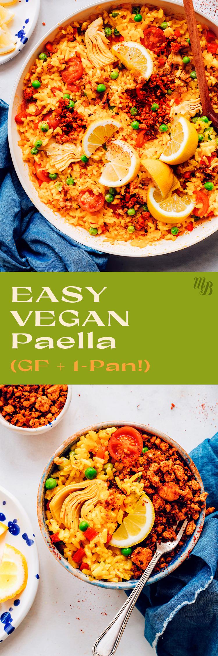 Bol de paella végétalienne facile avec quartiers de citron, pois verts et chorizo végétalien