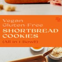 Pan of vegan and gluten-free shortbread cookies