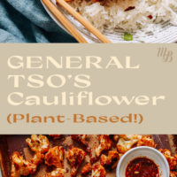 Plate and baking sheet of plant-based general tso's cauliflower with jasmine rice