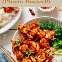 Plate of plant-based general tso's cauliflower with broccoli and jasmine rice
