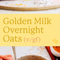Jar and bowl of golden milk overnight oats with a glass of almond milk