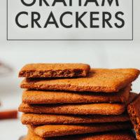 Stack of crispy vegan and gluten-free graham crackers