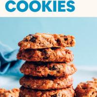 Stack of vegan and gluten-free flourless granola cookies