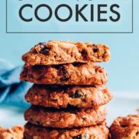 Stack of vegan and gluten free flourless granola cookies