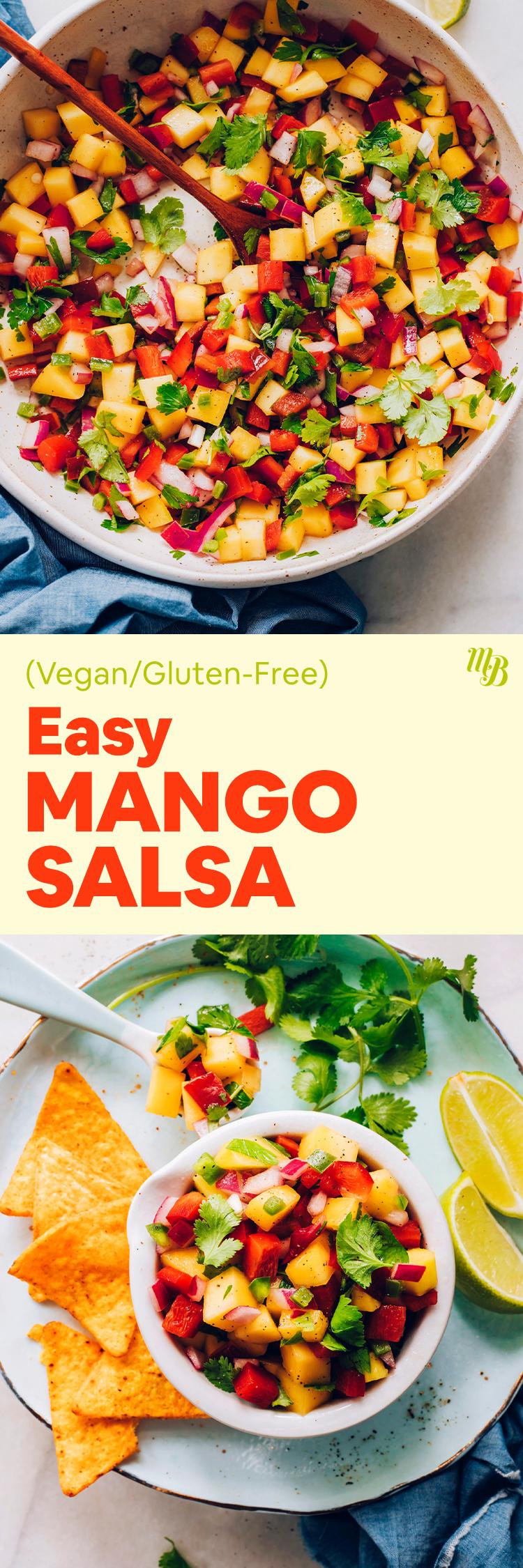 Tazón de salsa de mango fácil vegana y sin gluten con totopos y cilantro a un lado