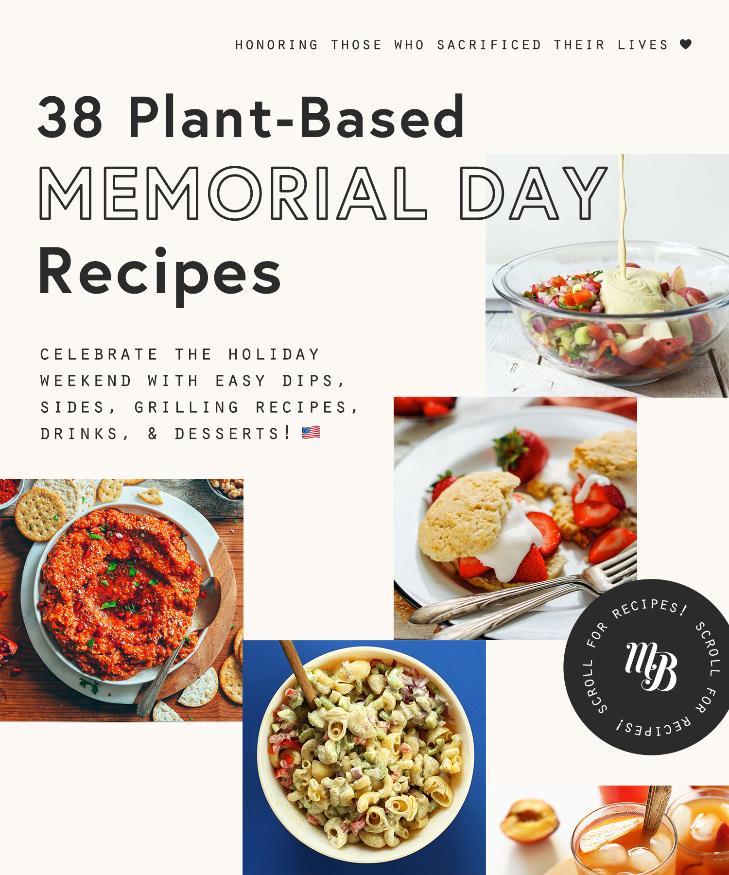 Salads, dips, drinks, and desserts for Memorial Day