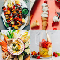Gallery of plant-based memorial day recipes including vegan vanilla ice cream, homemade hummus, sangria, and vegetable skewers