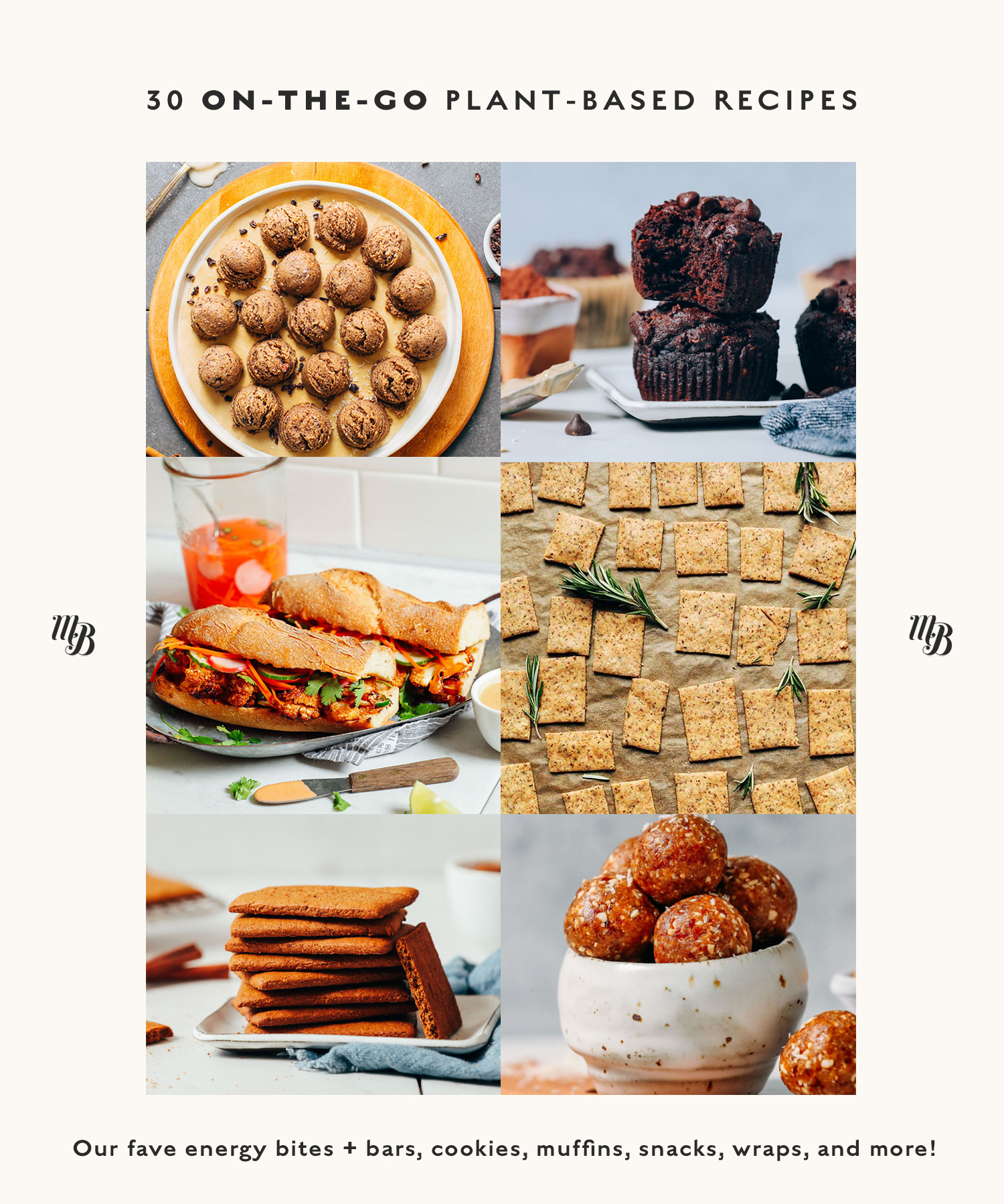 Snack bites, muffins, sandwiches and crackers for our round-up of on-the-go plant-based recipes