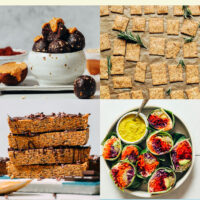 Grid of plant-based on-the-go recipes including chocolate energy bites, vegan cheese-its,