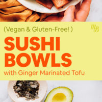 A vegan sushi bowl with fresh vegetables, marinated tofu, and a spread of ingredients including avocado, cucumber, carrots, fresh tofu, tamari, and ginger