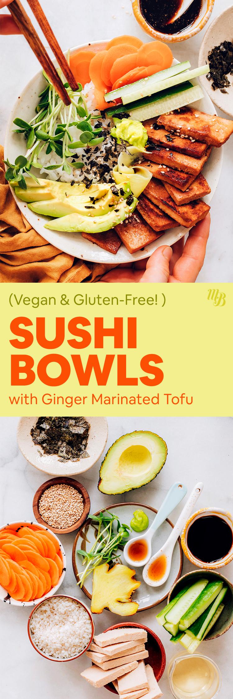 Un bol de sushi végétalien avec des légumes frais, du tofu mariné et une variété d'ingrédients comprenant de l'avocat, du concombre, des carottes, du tofu frais, du tamari et du gingembre