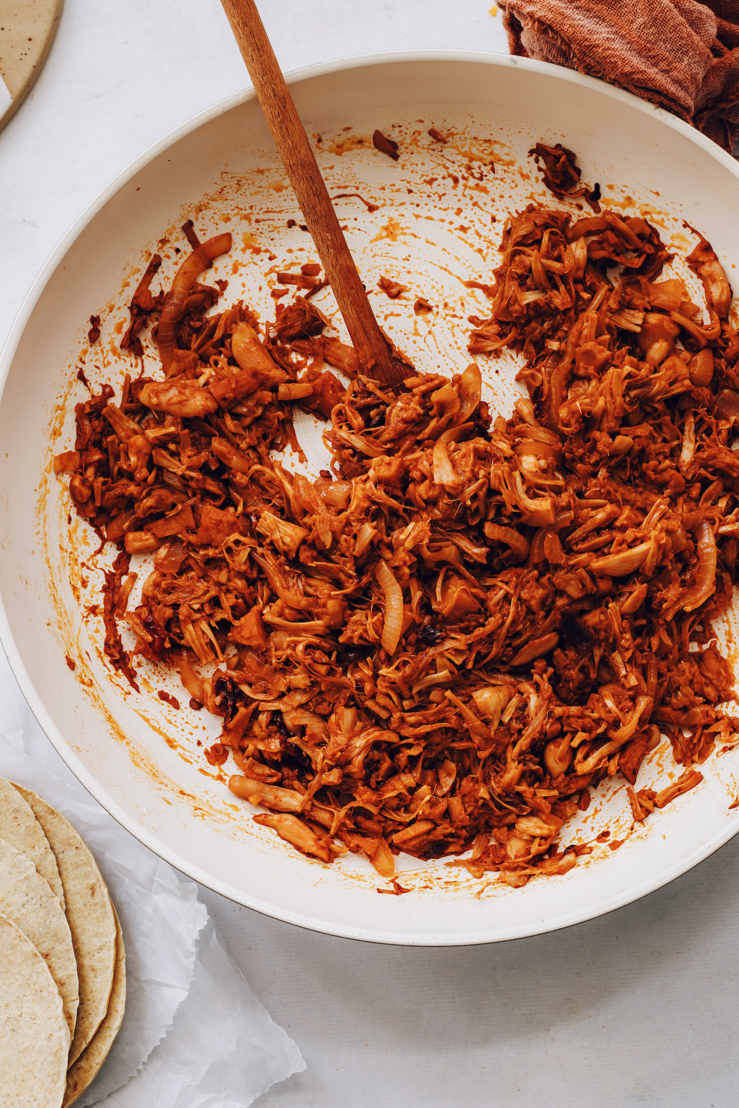 Pan of spicy shredded jackfruit