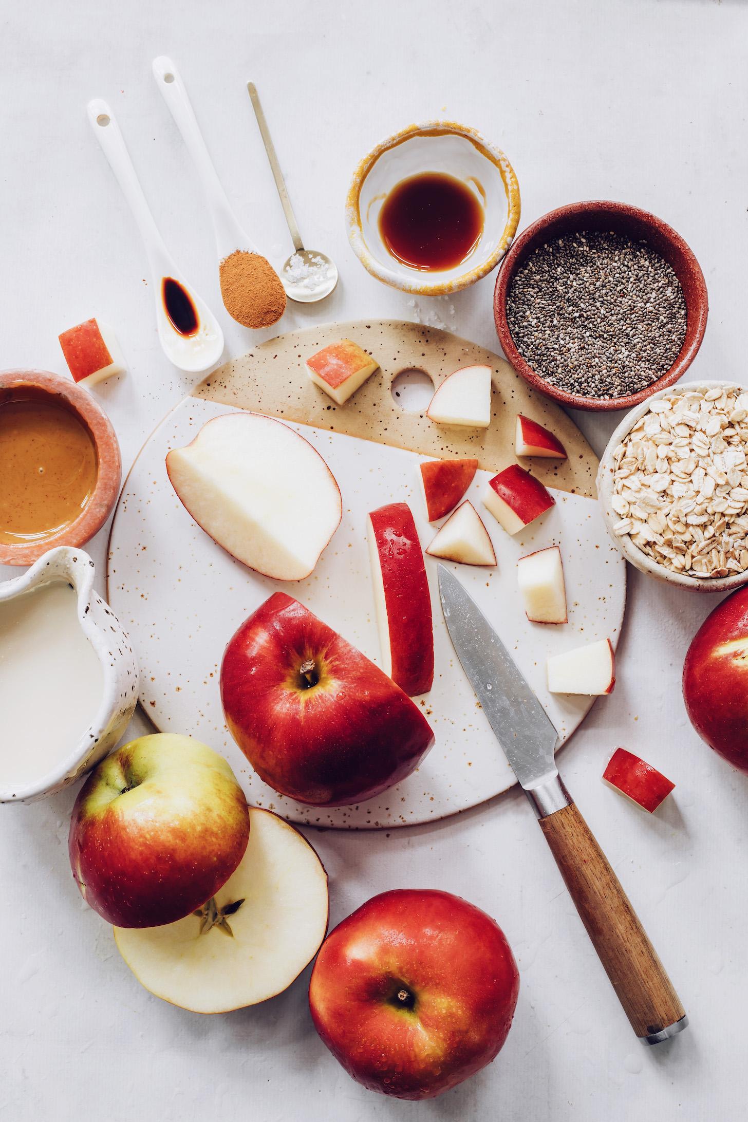 Apples, cinnamon, maple syrup, sea salt, almond milk, chia seeds, almond butter, vanilla, and oats