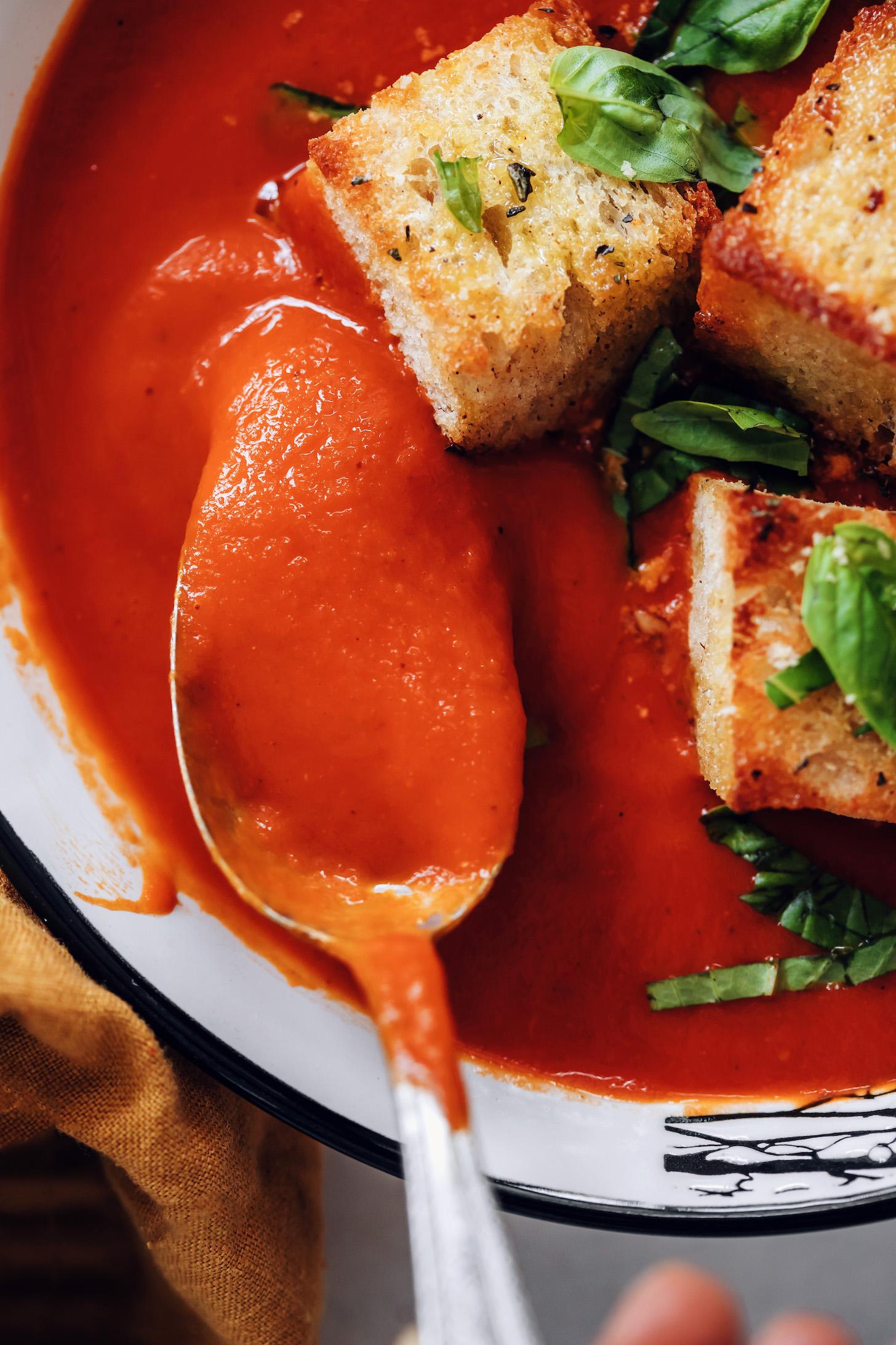 Bir kaşık dolusu kremalı domates çorbası yakın çekim