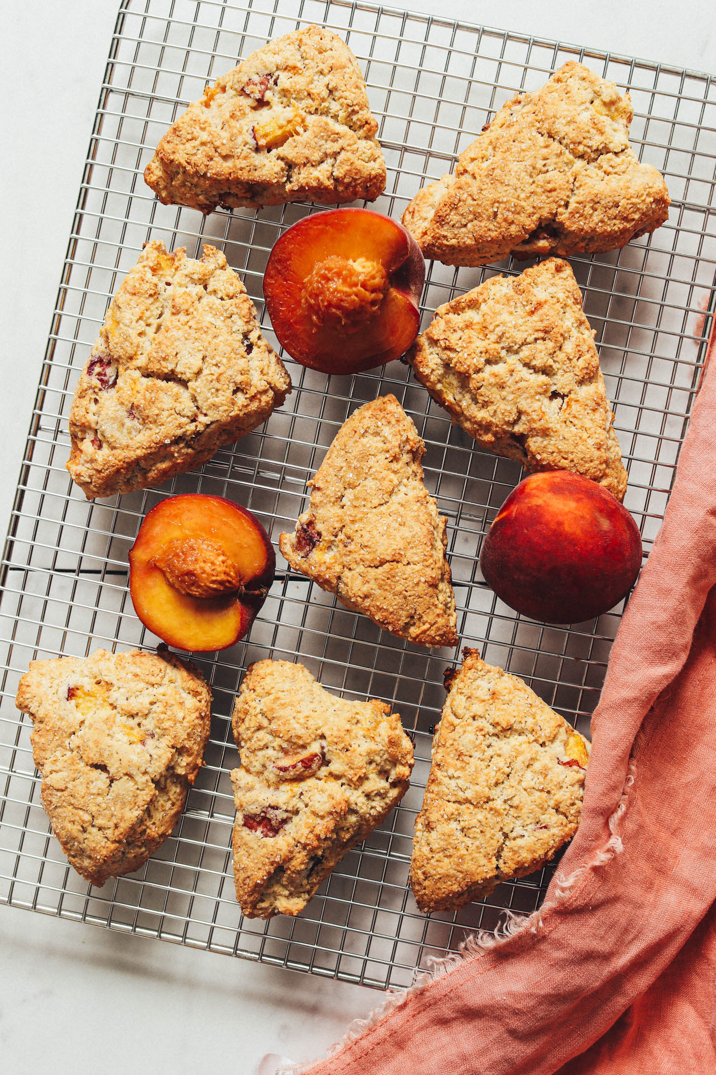 Cooling rack of peaches and gluten-free scones