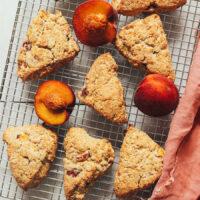 Cooling rack of gluten-free vegan peach scones