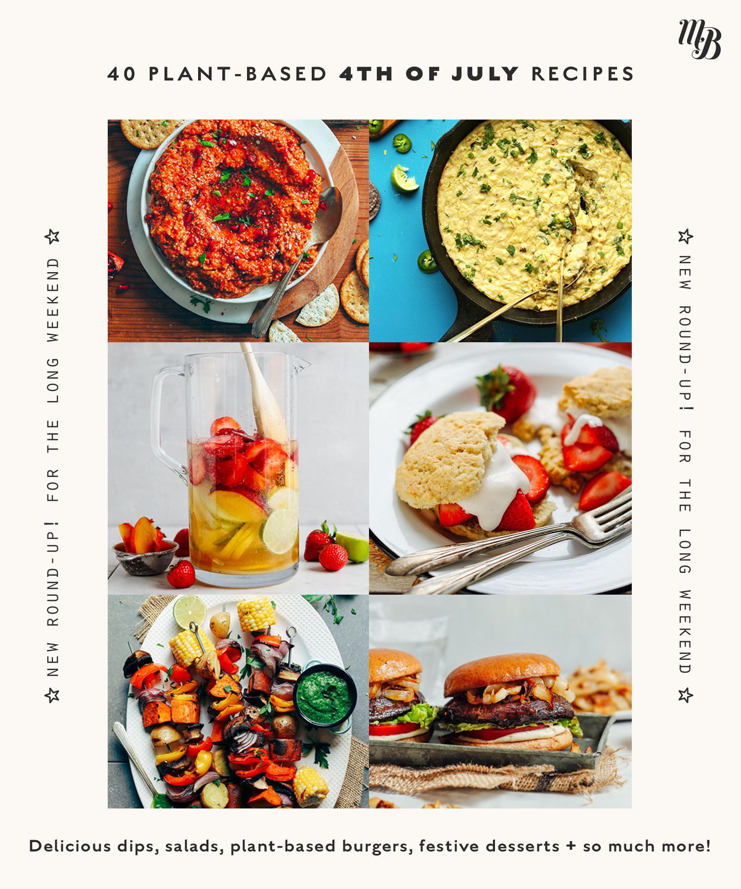 Assortment of vegan 4th of July recipes