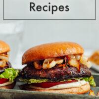 A vegan balsamic portobello burger with garlic aioli on a plate