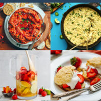 Gallery of plant-based 4th of July recipes, including homemade salsa, corn jalapeno dip, white sangria, and gluten-free strawberry shortcake