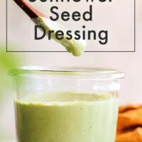 Jar of vegan and gluten-free cilantro sunflower seed dressing
