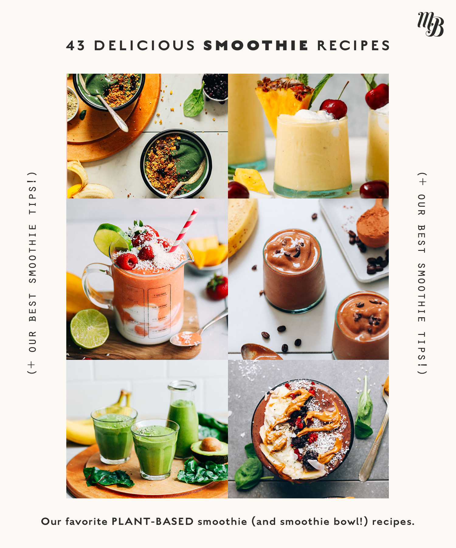 Assortment of vegan smoothies and smoothie bowls