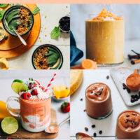 Grid of vegan smoothie recipes including banana green smoothie bowl, carrot cake smoothie, creamy cold brew smoothie, and gingery mango berry smoothie