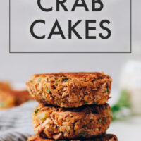 Stack of vegan and gluten-free crab cakes
