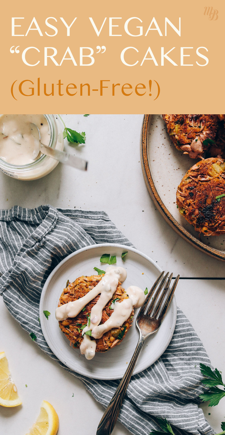 Plate of easy vegan and gluten-free crab cakes with vegan tartar sauce and fresh dill on top