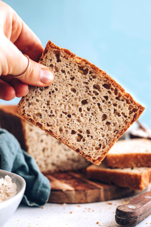 Picking up a slice of the best gluten-free bread