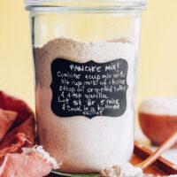 Pancake instructions on a jar of vegan pancake mix