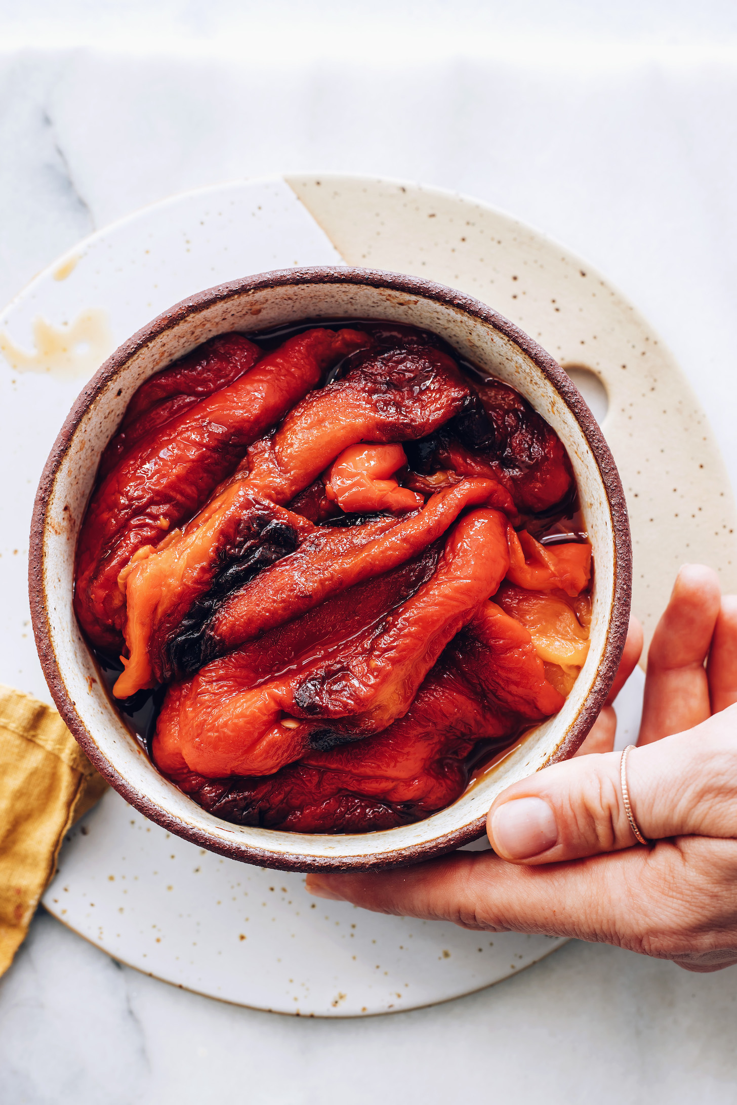 Bowl of roasted red peppers