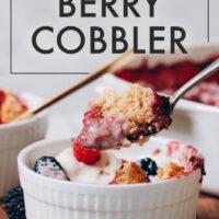 Ramekin of vegan and gluten-free berry cobbler