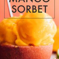 Scoops of 3-ingredient mango sorbet in a bowl