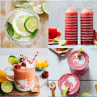 Gallery of refreshing summer drinks, including watermelon juice, a berry smoothie, and a margarita
