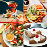 Gallery of easy vegan tofu recipes including vegan tofu fresh salad rolls, vegan chocolate silk pie, vegan breakfast burritos, vegan sushi bowls with marinated tofu, skillet fried tofu, and vegan tofu lettuce cups