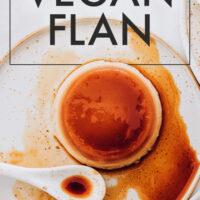 Plate of easy vegan no-bake flan