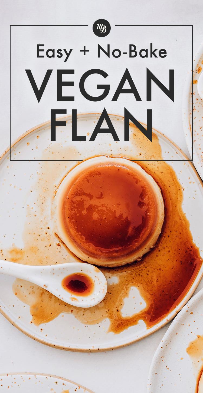 Assiette de flan végétalien sans cuisson facile
