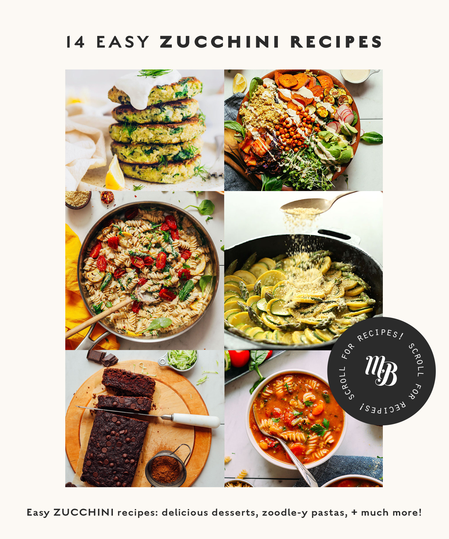 Assortment of easy zucchini recipes