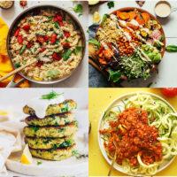 Gallery of plant-based zucchini recipes including easy vegan zucchini fritters, zucchini noodle pasta, creamy white summer pasta, and vegan chocolate zucchini bread