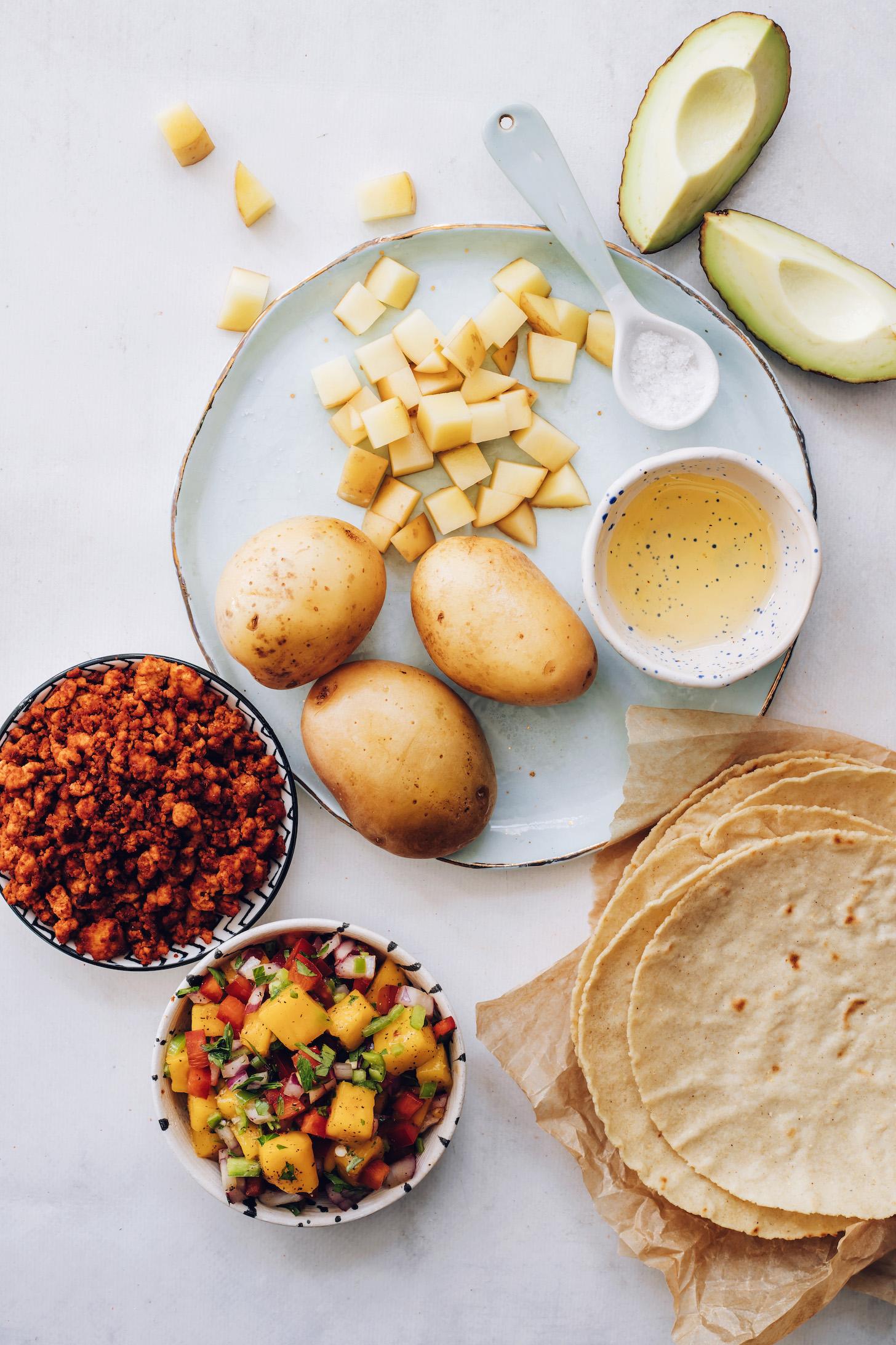 Potatoes, avocado, salt, avocado oil, tortillas, salsa, and vegan chorizo
