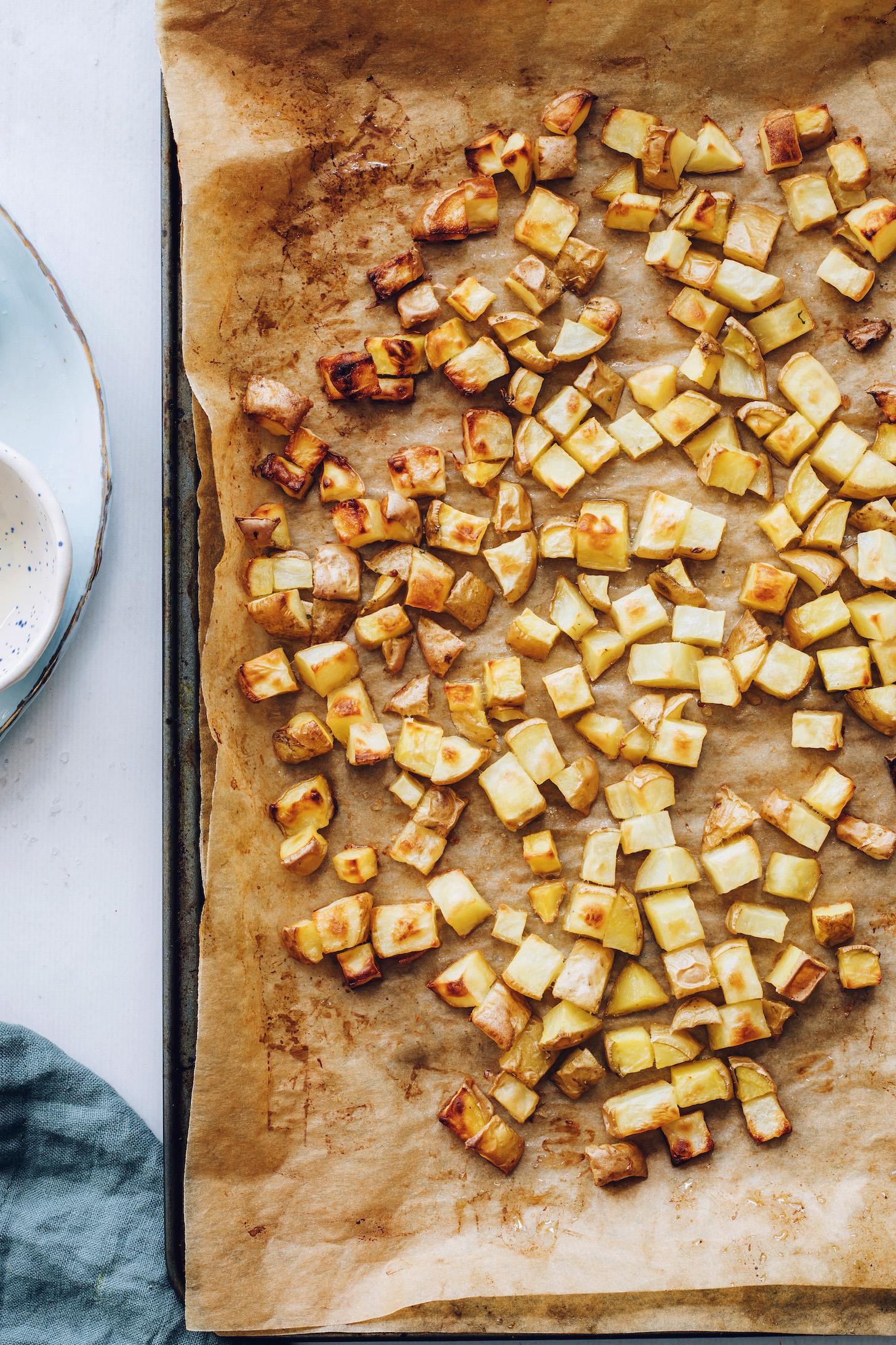 Roasted potatoes on a baking sheet