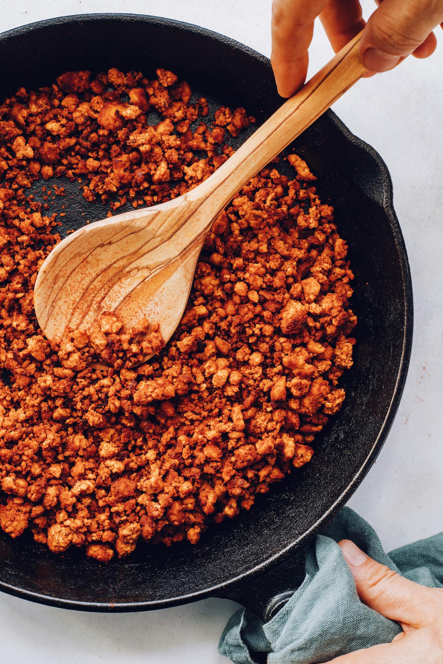 Cooking vegan chorizo in a skillet