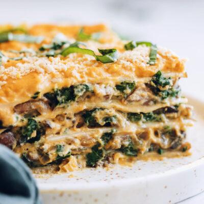 Close up shot of a slice of gluten-free butternut squash lasagna