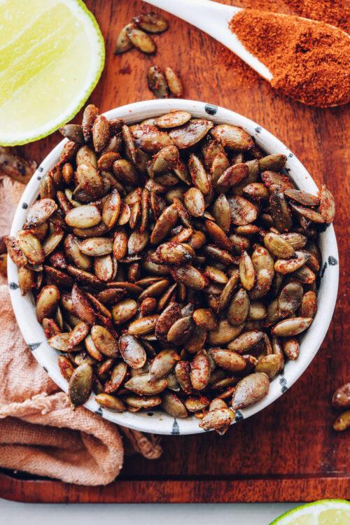 Bowl of chili lime roasted pepitas