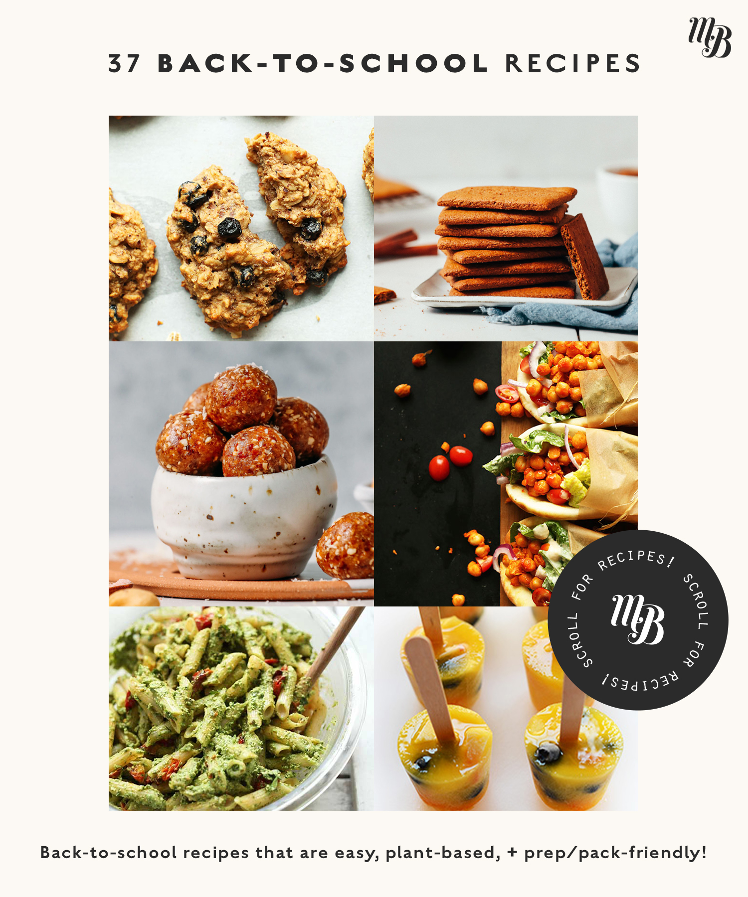 Assortment of back-to-school recipes including snacks, lunches, and more