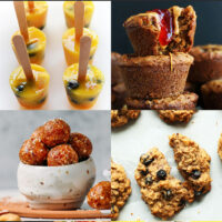 Gallery of plant-based back-to-school recipes, including fruit ice pops, vegan pb&j muffins, salted caramel energy bites, and granola cookies