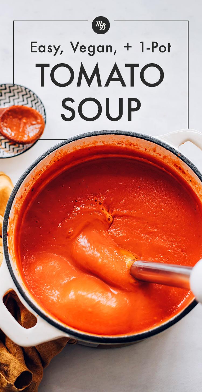 Bir daldırma blender ile karıştırılan vegan domates çorbası tenceresi