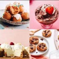 Gallery of easy plant-based no-bake desserts, including vegan and gluten-free sugar cookie bites, vegan chocolate mousse, vegan coconut yogurt cheesecake, no-bake chocolate chip cookies, easy vegan flan, and vegan peanut butter cups