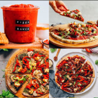 Gallery of plant-based recipes for pizza night, including vegan pizza sauce, vegan sausage pizza, vegan cauliflower crust pizza, and gluten-free pizza crust