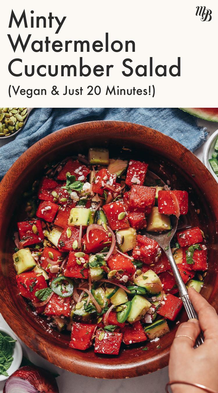 Vegan beyaz peynirli vegan naneli karpuz salatalık salatası